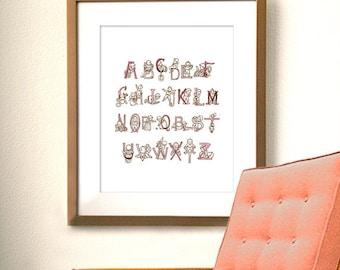 Vintage Alphabet Print 8x10 - Pink, Girl's Nursery Artwork, Shades of Pink with Chocolate Brown