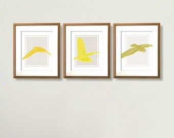 Owls in Flight - Owl Print -  3 8x10 Prints in Mustard, Olive and Chartreuse on Grey Linen Background