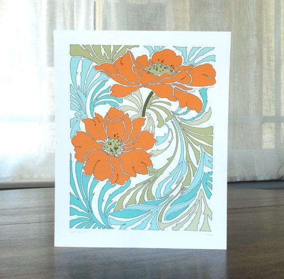 Poppy 8x10 Print with Sage Green and Teal Blue Floral Design Background