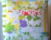 Handmade quilted pillow cover - blue and green floral patchwork vintage sheets