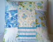 Handmade quilted pillow cover - blue patchwork vintage sheets