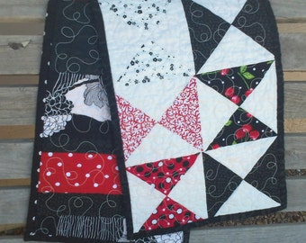 Handmade pinwheel tablerunner - red white black cherries cherry