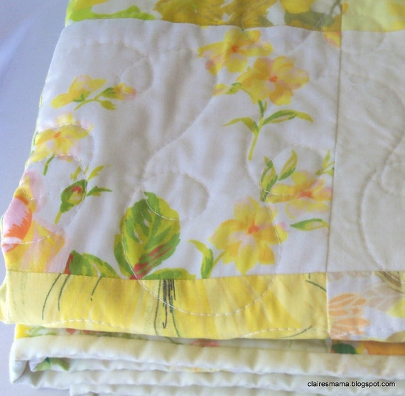 Handmade patchwork baby quilt - yellow vintage sheets