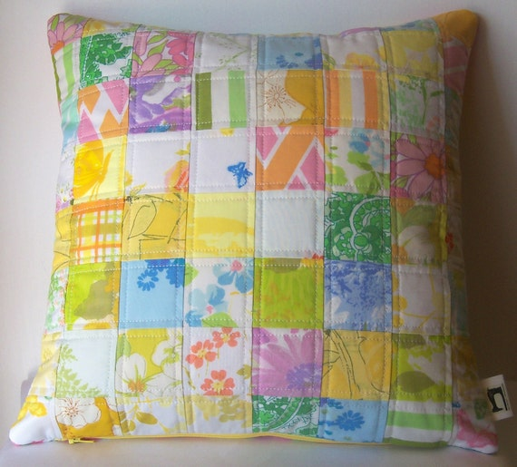 Handmade quilted pillow cover - patchwork vintage sheets
