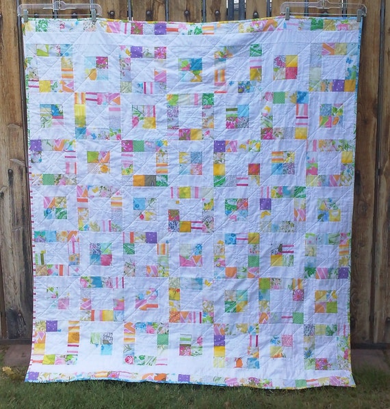 Handmade patchwork lap quilt - pink, yellow, blue, green vintage sheets