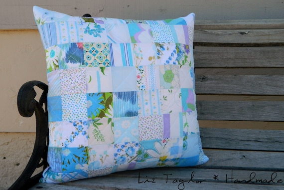 Handmade blue patchwork pillow cover -  patchwork, vintage sheets