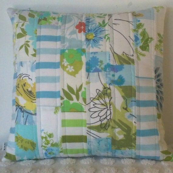 Blue quilted pillow cover - handmade improv patchwork vintage sheets