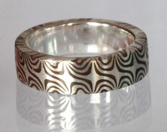 Twisted Tide-- Mokume Gane Ring