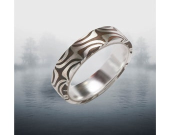 Twisted Tide 5- 6mm Mokume Gane Ring