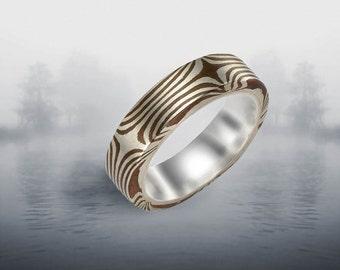 Mokume Gane Ring, Stellar 5-6mm Sterling Silver liner