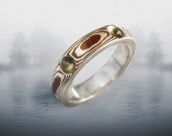Mokume Gane Ring -Silver and Copper, 5-6 mm wide Band
