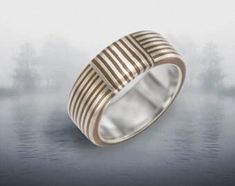 Orbit Striped 4-6 mm Mokume Gane Ring