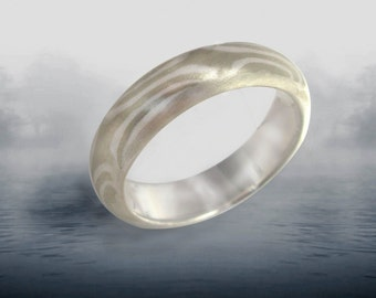 Unisex Rings - Mokume Gane, Mixed Metals 4-6 mm Half round