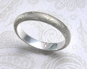 Mokume Gane  Ring 3mm to 4mm wide