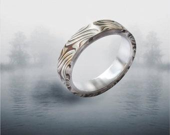 Mokume Ring silver liner size 8
