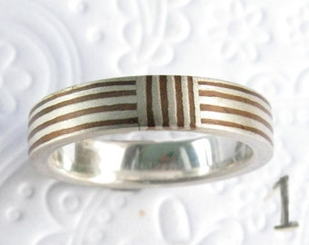 Holiday Special 3-4 mm  Mokume ring