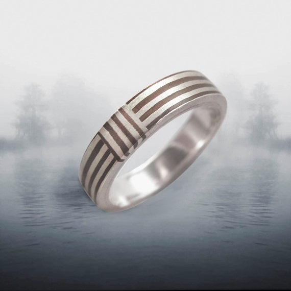 Orbit Striped 3- 4mm Mokume Gane Ring