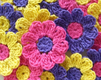 Bright Crochet Flowers, Appliques, Embellishments, Pink, Yellow, Purple - set of 16
