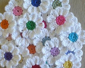 Handmade Small Crochet Flowers,  Appliques  - set of 16, variety