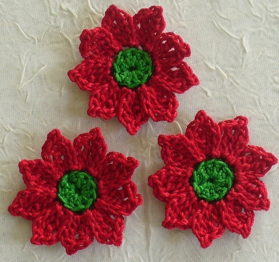 Crochet Xmas Flower Pattern : 18 Red Christmas Flowers Crochet Handmade Appliques