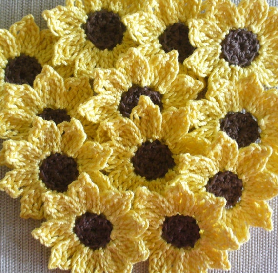 Sunflowers, Daisies, Small  Appliques, Embellishments for Scrapbooking - set of 12
