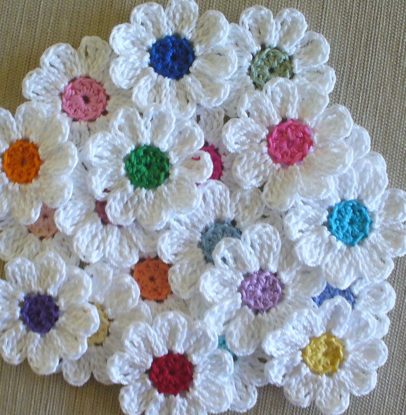 Free Crochet Pattern For Iris Flower : Handmade Small Crochet Flowers Appliques set of 16