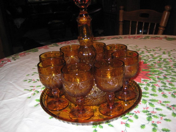 Vintage Amber Tiara Amber Sandwich Wine Decanter Set Indiana
