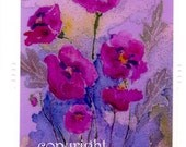 Raspberry Poppies Card