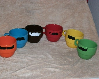 New Modern Stacking Mustache Mugs- 9 oz-made to order-