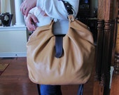 Leather satchel with pleats in vanilla with brown accent, large shoulder bag, messenger, and backpack