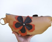 Light Tan Leather Wristlet, leather clutch - Ready to Ship