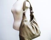 Large leather convertible backpack purse, pleated shoulder bag - Soft taupe