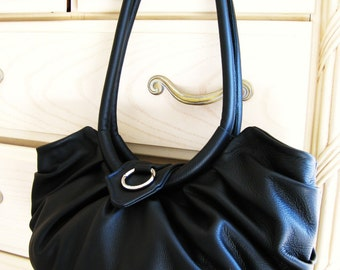 Black leather purse, bag with pleats,  pleated tote, hobo bag, leather satchel, leather shoulder bag,  Lotus inspired bag