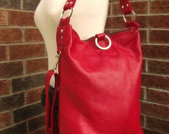 Red Leather shoulder bag, Fold Over Bag, 3 way women leather bag - Melon
