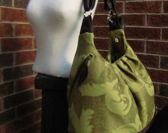 Olive green floral canvas and brown leather diaper bag, multi functional bag, backpack purse
