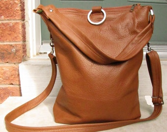 Tan leather fold over messenger bag - Oak Tan