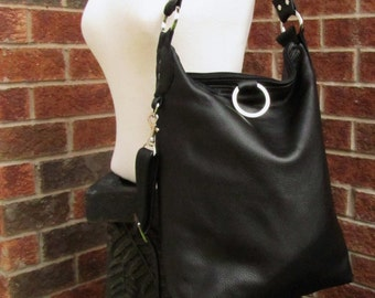 Black Leather Bag - 3 way bag - Messenger - Fold Over Bag