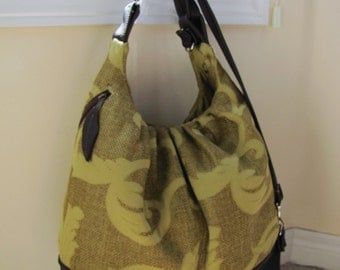 Extra large olive green convertible backpack diaper bag, super sized tote bag, messenger  - Gold green vines