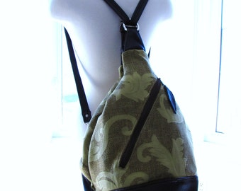 Extra large diaper bag in olive green canvas and leather straps, convertible backpack messenger and shoulder bag - Gold green vines