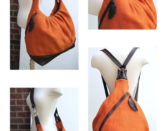 Extra large convertible bag in canvas leather Large travel carry on bag diaper bag - Bright Orange & Brown