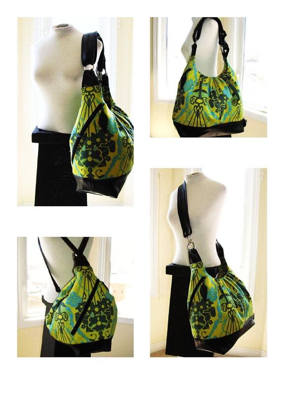 Reserved for Mi - Sale item Green floral bag. extra large convertible backpack, messenger, tote, diaper bag leather straps & bottom