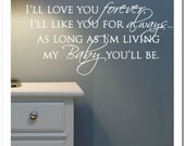 I'll Love you Forever - Vinyl Lettering Wall Words Decor