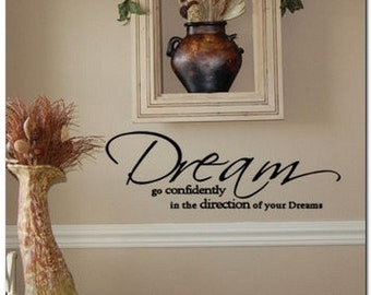DREAM GO CONFIDENTLY - Vinyl Wall Lettering Words Decor