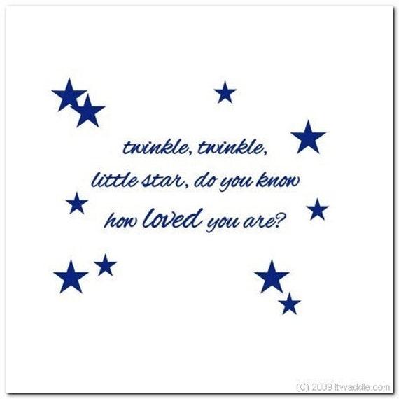 TWINKLE TWINKLE LITTLE STAR  - Vinyl Wall Lettering Words Decal