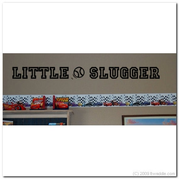 LITTLE SLUGGER - Vinyl Wall Lettering Words Decor Art Decal