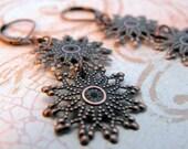 Falling Stars Long Dangle Copper Earrings, Snowflake Earring, Gift for Nature Lover, Gift for Her, Under 25