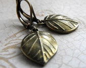 Sweet Simple Brass Leaf Earrings, Leaf Earring, Gift for Her, Gift for Gardener, Under 25