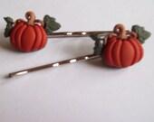 Harvest Pumpkin Bobby Pin Style Hair Clips