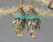 OPHELIA ... Vintage Style Earrings ... with teal flower beads