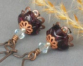 STELLA ... Longer Length Vintage Style Earrings ... with amethyst flower beads